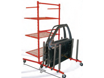 Body shop rack with 3 shelves + panel cart for car body parts and panels