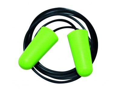 Disposable moulded earplugs PU, with cord