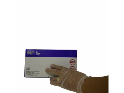 INP vinyl gloves, clear medical, size S