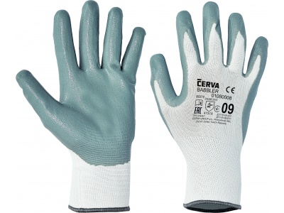 White nylon coated glove, size 9