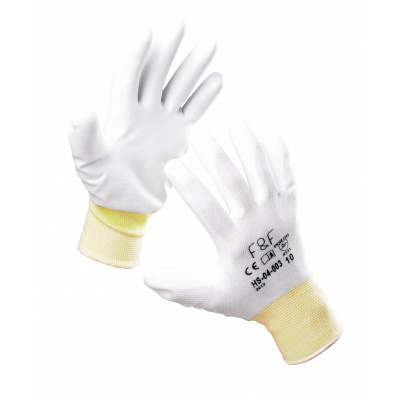 White polyester coated glove, size 8